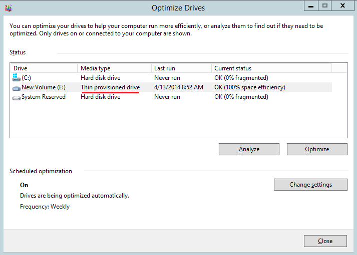 Windows Server 2012 thin disk