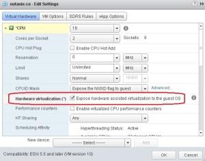 Nutanix CE VM CPU settings